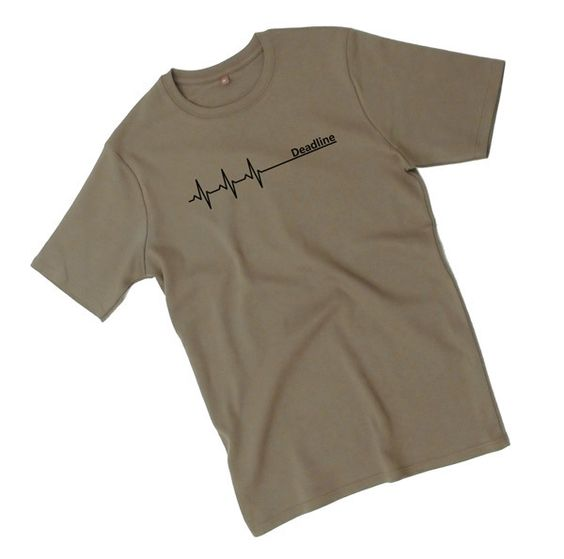 Deadline ;) T-Shirt for men / Fair Wear    Color - Olive Green with black motif.    Made from *thick, soft cotton.*