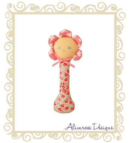 http://www.buttonbaby.com.au/alimrose-designs-stick-rattle-flower-sweet-blossom-p-2450.html - Alimrose Designs Doll Rattle.  Cute doll face with sweet blossom design!  Perfect for little hands, perfect baby shower gift idea.  Approx 14cm.Alimrose Designs (formerly Native Bush Babies) began in 1980�s when two mothers were tired of not being able to access Australian designed dolls and products for their children. This inspired them to begin their own company. The company originally made ...