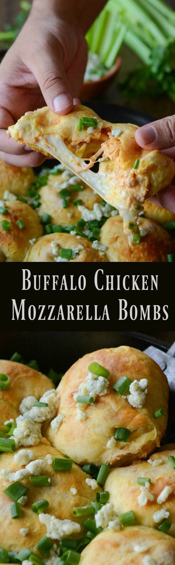 """biscuit dough is stuffed with buffalo chicken, blue cheese and fresh mozzarella"" Buffalo Chicken Mozzarella Bombs Recipe via The Novice Chef - The Best Homemade Biscuits Recipes - Quick, Easy and Delicious Bread Sides for Breakfast, Brunch, Lunch and Family Dinner! #biscuits #biscuitrecipes #homemdebiscuits #easybiscuits #rolls #homemadebreadsides #bread #breakfastrecipes #comfortfood"