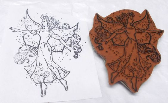 Fairy rubber stamp flowers in hair fairies Fantasy lady with wings on cling   #Unbranded #fairies