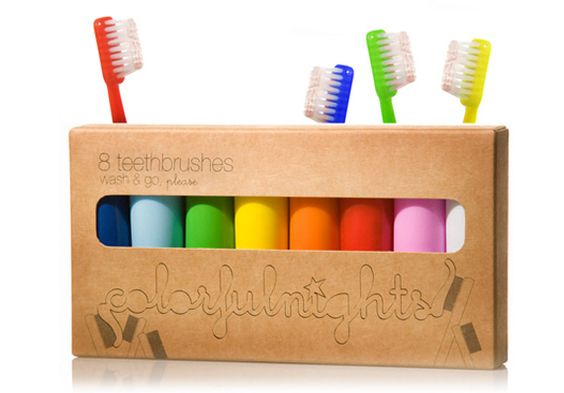 colourful toothbrush collection