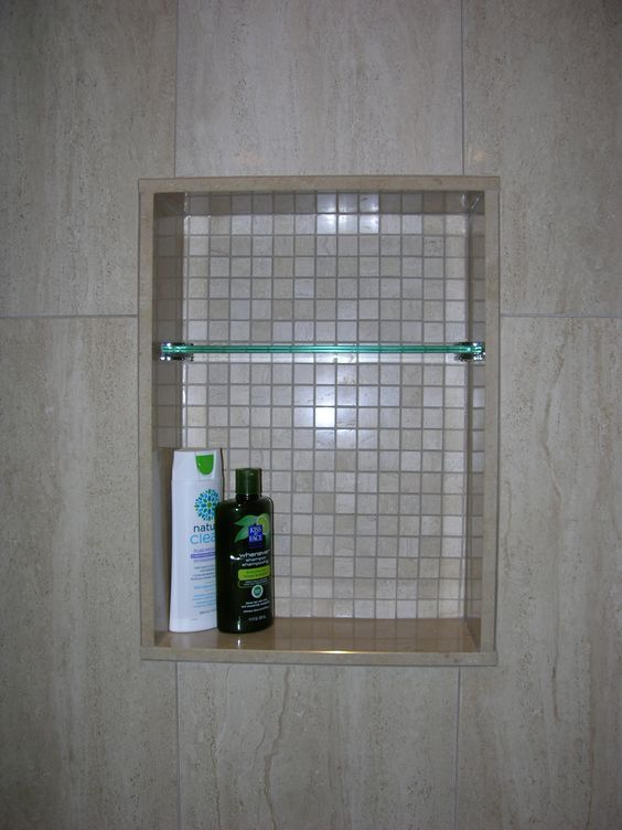 Custom Shower Niche With Glass Shelf Caledon Tile