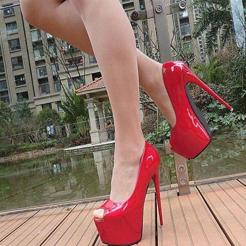 Women/'s Platform Stilettos Peep Toe Super High Heels Shoes Nightclub Party Pumps