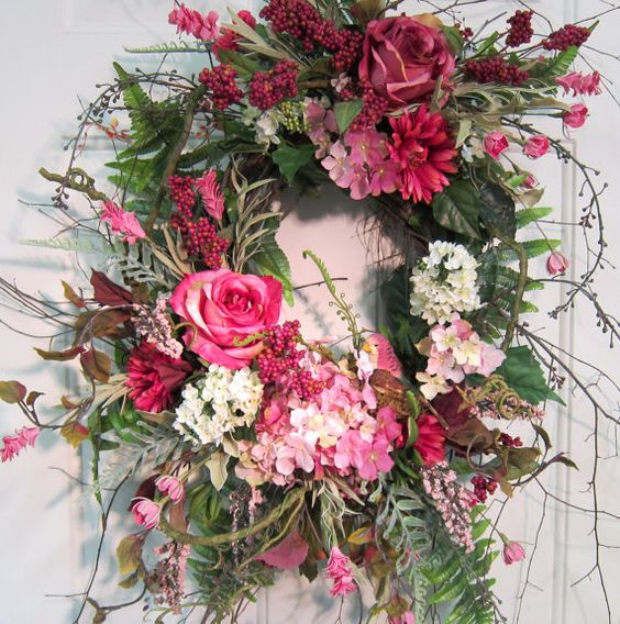 Wreath with all pink & a touch of white flowers