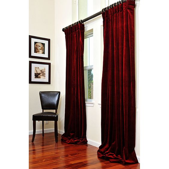 Red velvet curtains a la broadway for the living room for Red velvet curtains living room