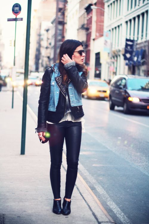 jean vest over leather jacket | Fashion Fanatic | Pinterest