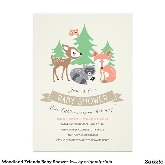 Woodland Friends Baby Shower Invite