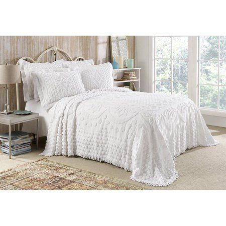 Kingston Tufted Chenille Bedspread And Pillow Sham Set All Cotton King Size Beige Walmart Com White Bedspreads Bed Spreads Chenille Bedspread