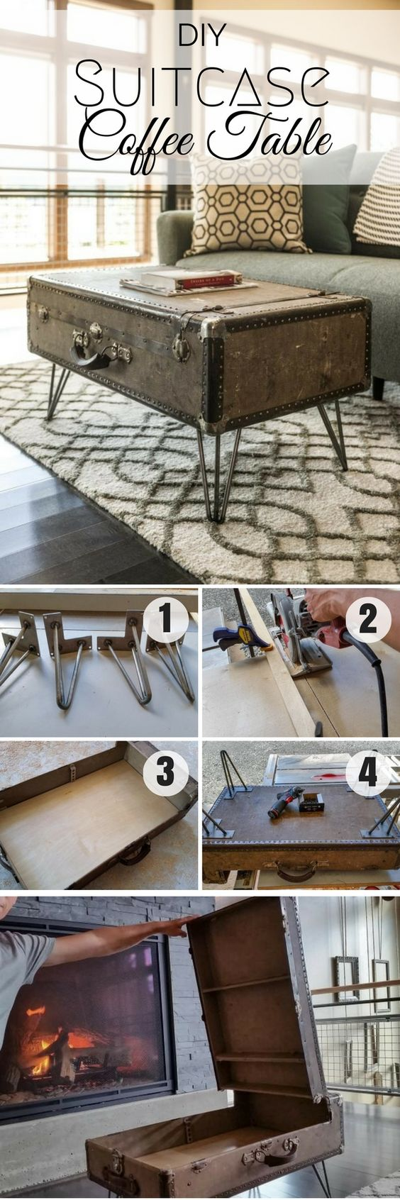 Check out how to easily turn a suitcase into a DIY coffee table @istandarddesign