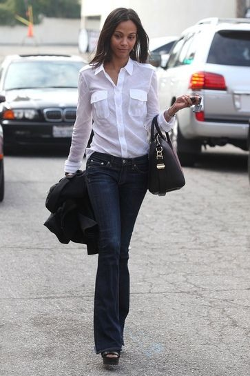 A classic combination - jeans and a white shirt. Only wear one ...