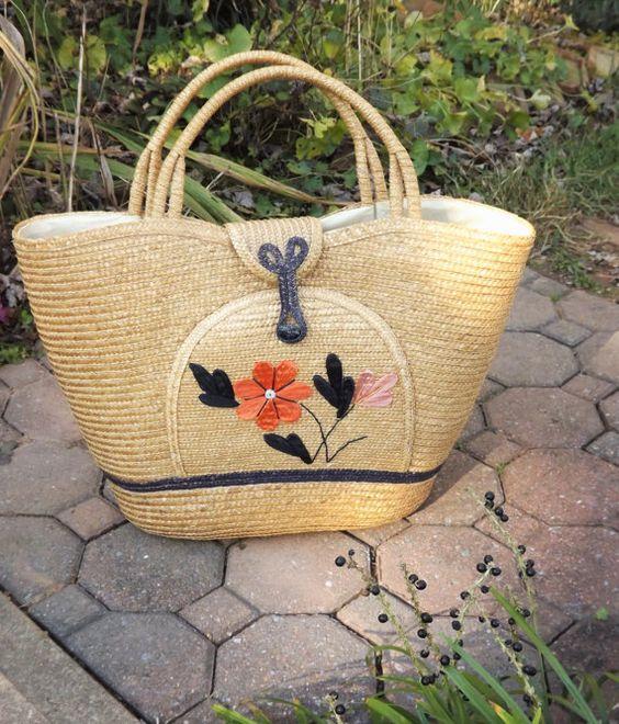 Jumbo Beach Bag Vintage Woven Straw Handbag by ForsythiaHill