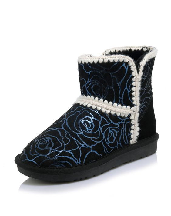 #AdoreWe NAIYEE Black Suede Cow Leather Floral Printing Snow Short Boots - AdoreWe.com