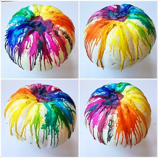 A pumpkin splattered with crayons is supposed to look a tiny bit messy, but this blogger made sure the colors still came out just right. See more at Crafty Morning »  - GoodHousekeeping.com