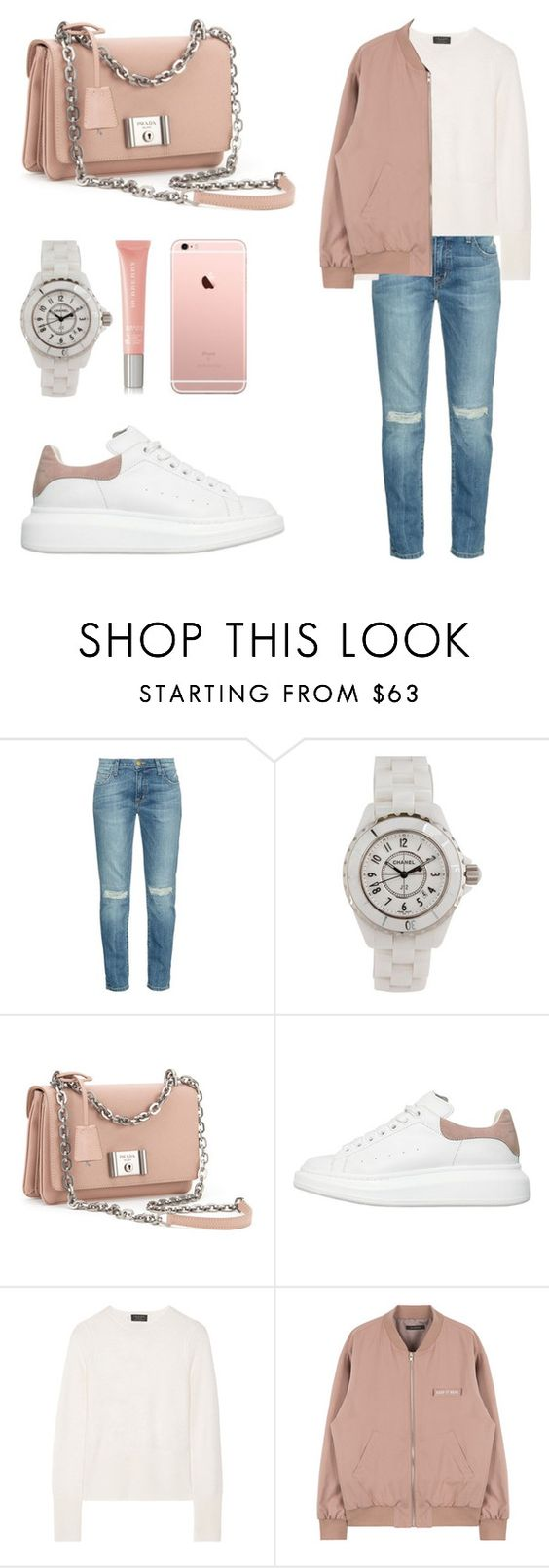 """""""Rose"""" by suzan-molchanova ❤ liked on Polyvore featuring Current/Elliott, Chanel, Prada, Alexander McQueen, rag & bone, Burberry, Pink, AlexanderMcQueen and nude"""