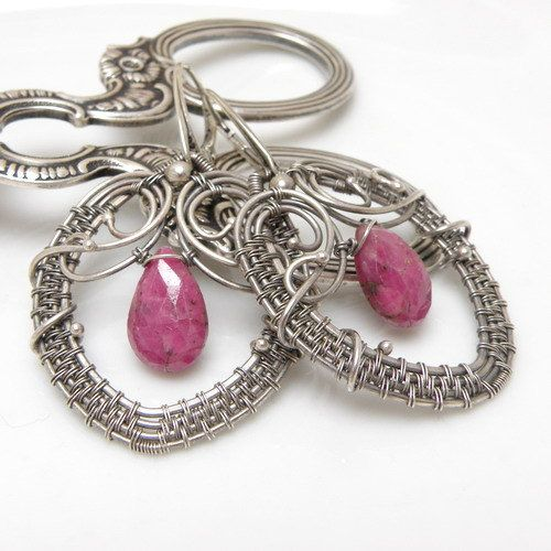 Anelin  silver wire wrapped earrings with ruby by MadeBySunflower, $125.00