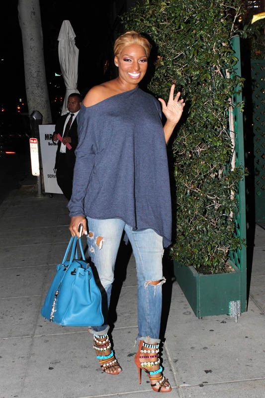 NeNe Leakes dines at Mr. Chow after 'DWTS' Week 3 Taping in  Giuseppe Zanotti Coline Shell Bead Embellished Sandals