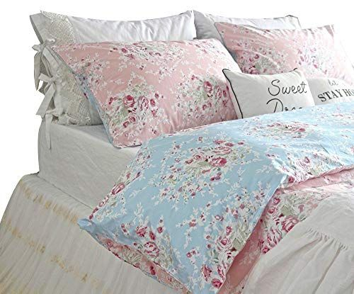 Queen S House Reversible Duvet Cover Shabby Blue Pink Roses Floral