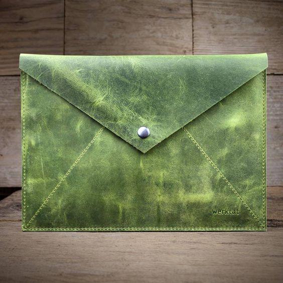 werktat Umschlag aus Leder, grün Stückwerk L WT1015, Etui, Clutch