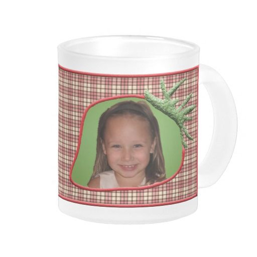 Strawberry Plaid Customizable Photo Mug