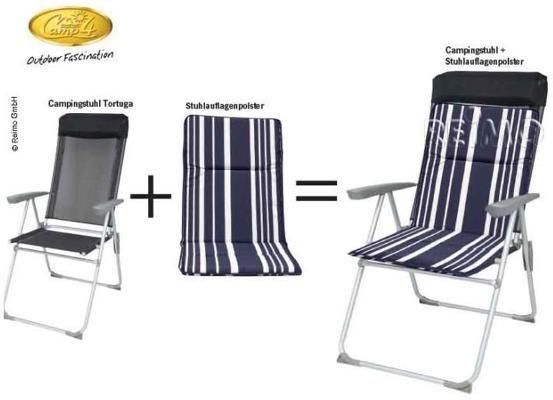 Camp4 Tortuga Campingstuhl Mit Stuhlauflagepolster Blauweiss