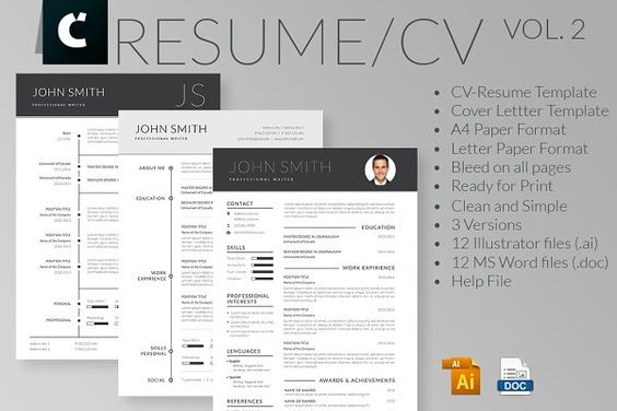2 page resume template 1 cover letter template Fonts link included - resume template word 2008
