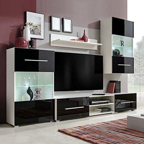 Moderner Wohnwand Schwarz Mit Led Beleuchtung In 2020 Haus Innenarchitektur Schwarze Wohnzimmer Wohnzimmereinrichtung