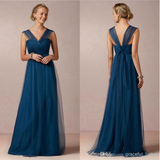 Lapis Blue V Neckline Long Bridesmaid Dress Soft Tulle Dresses For ...