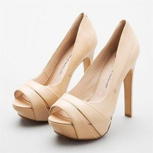 beige peep toe shoes