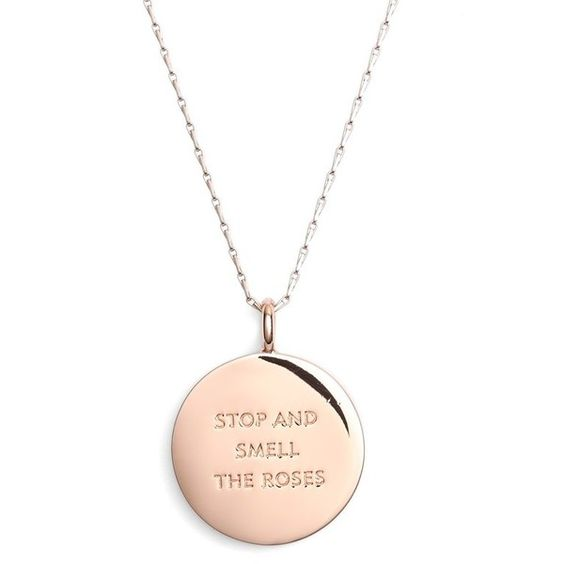 kate spade new york reversible pendant necklace found on Polyvore featuring jewelry, necklaces, rose gold, circle pendant necklace, kate spade necklace, round pendant necklace, pendants & necklaces and kate spade