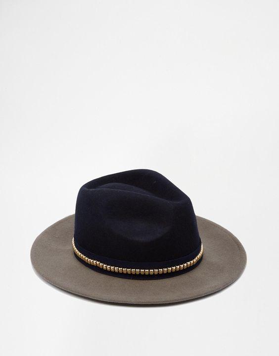 Imagen 3 de Sombrero Panamá de fieltro con diseño colour block y ribete de tachuelas de ASOS