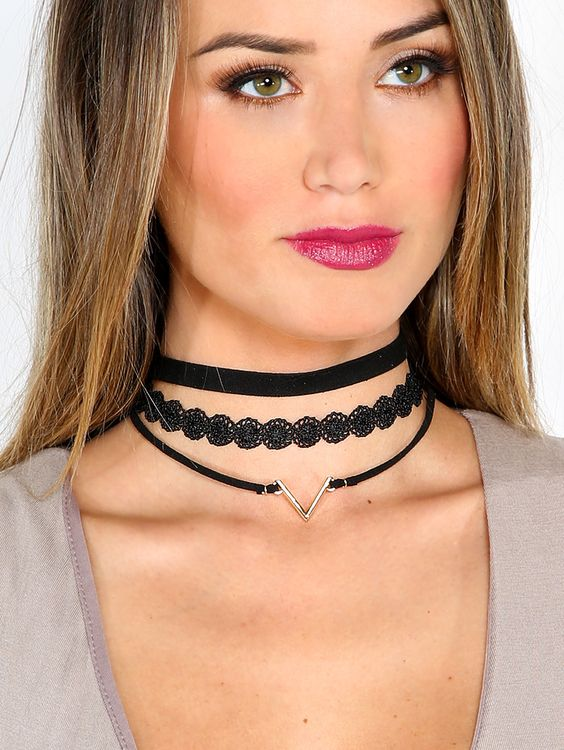 Crochet Lace Choker Set GOLD | MakeMeChic.COM:
