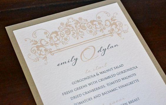 Vintage gold floral wedding menu www.paperscissorsprint.com