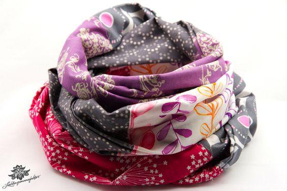 Hochwertiger Loop - Schal aus Baumwolle ... Einzigartige Patchwork - Lieblingsstücke für den bunteren Alltag ... Romantischer Loopschal in pink, anthrazit / grau, weiß und lila