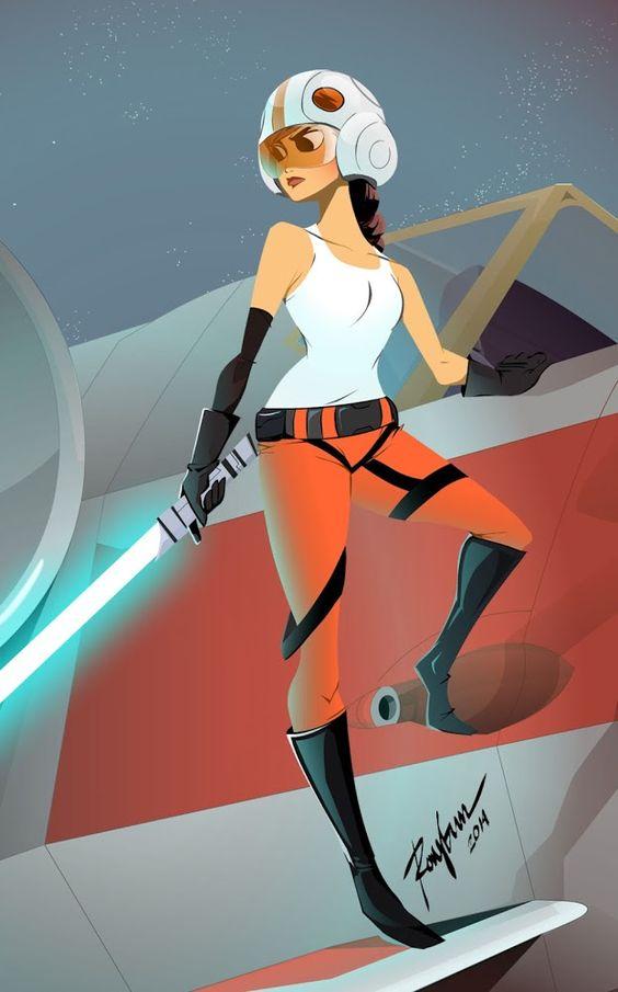 "Pretty certain this is Jaina Solo | ""Jedi/pilot"" | Illustrator: Ray Sagun aka raysagun"