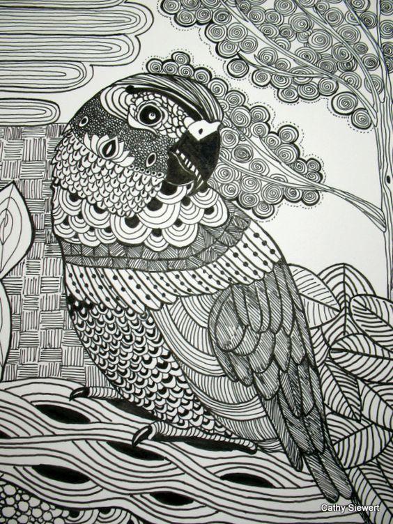 """""""Parrot"""" in zentangle art, 11x14 with mattboard pen & ink"""