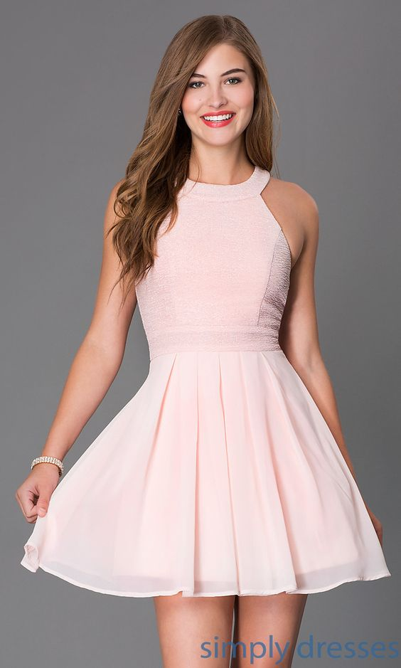 TX-6905742X9I - Blush Pink Sleeveless Short Cocktail Dress - Blush ...