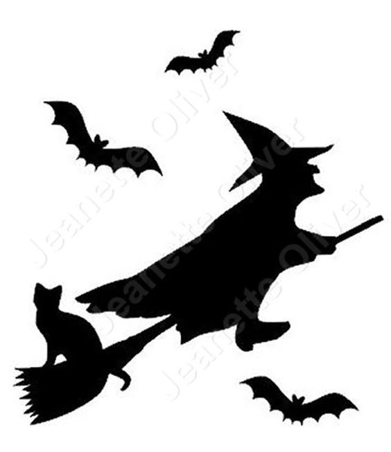 Witch on a broomstick with her cat and some bats SVG digital cutting file by CraftaholicCreation on Etsy