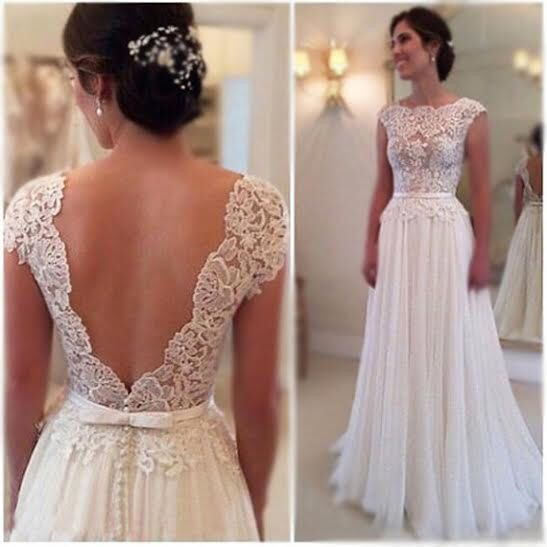 Lace Wedding Dress With Cap Sleeves Style D1919 : Ivory or white vintage style cap sleeve low v back lace wedding dress