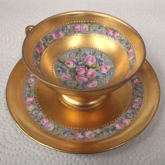 antique Awesome PORCELAIN GILT & HANDPAINTED ROSES CUP & SAUCER GERMANY | Cups & Saucers | Ceramics & Porcelain - Zeppy.io