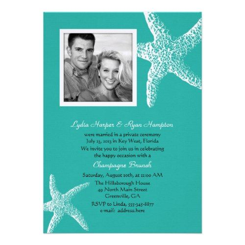 Reception Invitation Wording After Destination Wedding: Post Wedding Beach Themed Reception Invitation