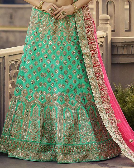 This Beautiful Green Flared #Lehenga is a perfect choice for #Monsoon. Buy Lehenga here: http://bit.ly/2avNgjp  #EthnicWear #Wedding