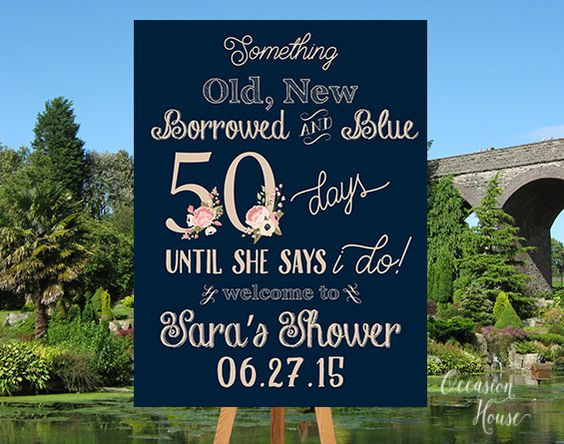 Bridal Shower Countdown Sign, Days Until she's Mrs Sign, Countdown Bridal shower, Navy Blue and Blush Bridal Shower Sign, Printable, BSWS10 by OccasionHouse on Etsy