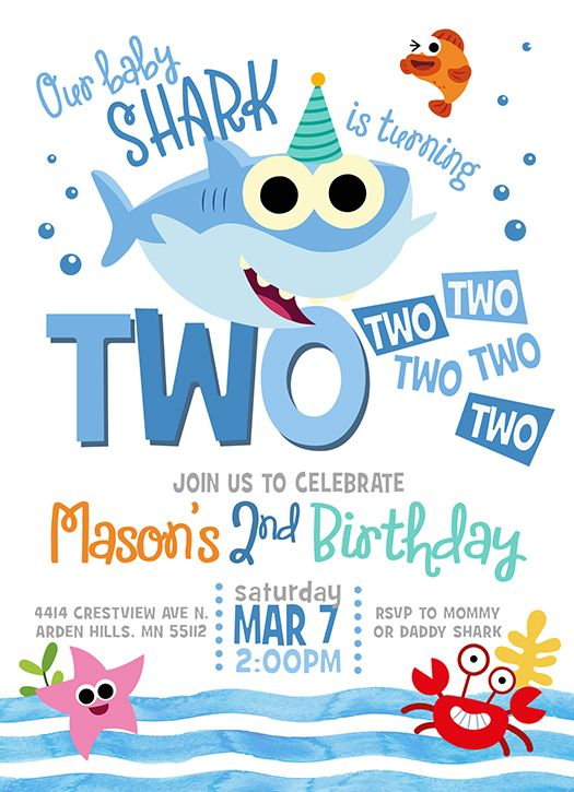 Baby Shark Two Two Two Birthday Baby Shark Birthday Etsy In 2021 Shark Birthday Invitations Shark Birthday Party Invitation Shark Themed Birthday Party