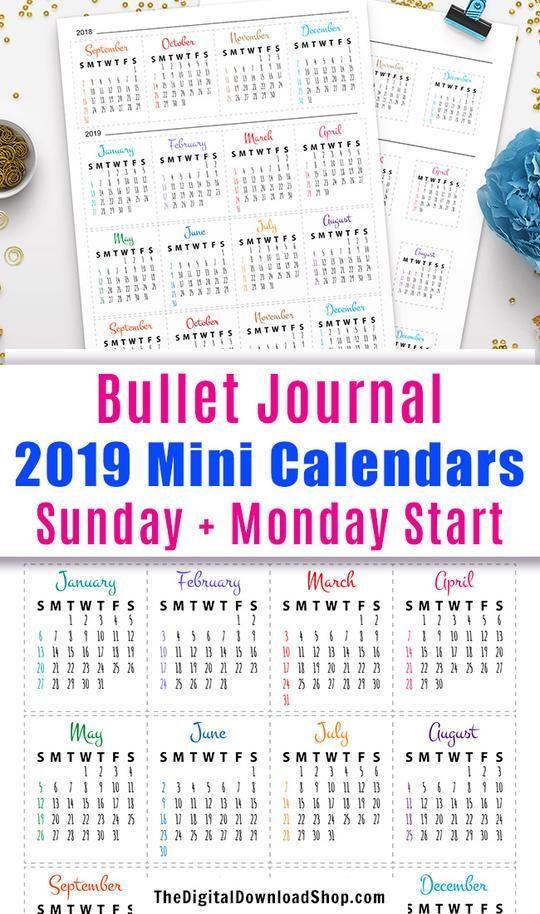2019 2020 Bullet Journal Mini Calendars Printable Mini Calendars