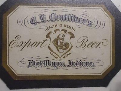 Centlivre Export Beer Bottle Label, Fort Wayne Indiana