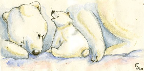 Polar Hugs  illustration originale Aquarelle par SophieLeta sur Etsy, €27.00