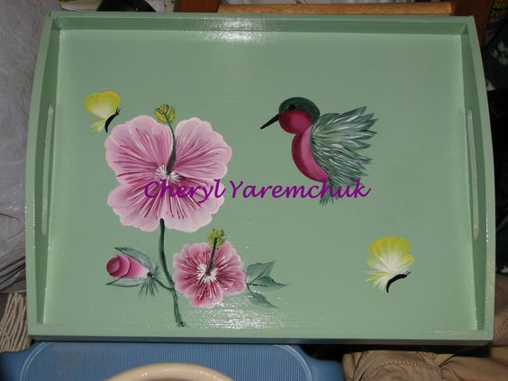 My favorite - Pink Hibiscus with Hummingbird - handpainted tray