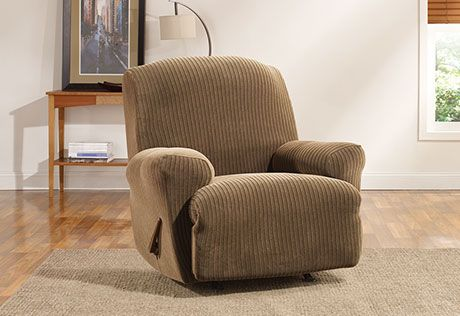 Sure Fit Slipcovers Simple Stretch Ribbon Stripe One Piece Slipcovers - Recliner