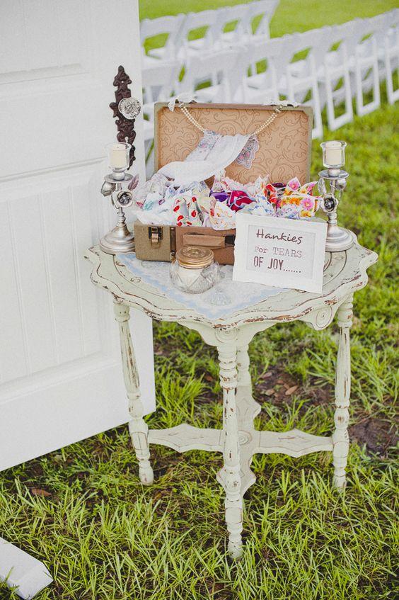 wedding handkerchiefs for tears of joy. #weddinghanky http://www.weddingchicks.com/2013/11/20/vintage-wedding-2/