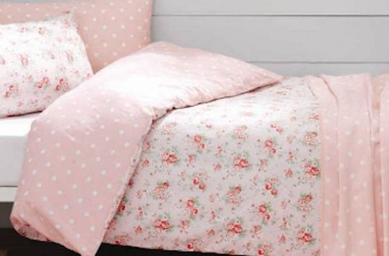 Spray Flowers Double Duvet Cover  Stunning double duvet cover set in 100% cotton from Cath Kidson, fastens with buttons. (Also available in Single) Reversible bedding with romantic pastel coloured flowers on the top side and pink and white polka dots on the other. A lovely floral set for a girls or adults bedroom. | Childrens Bed Centres